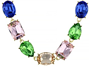 Multicolor Mixed Shape Crystal Gold Tone Necklace