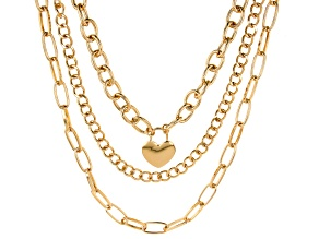 Gold Tone 3-Strand Chain Interchangeable  Necklace