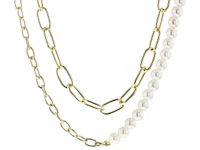 Paperclip Chain, Pearl Simulant Gold Tone Necklace Set