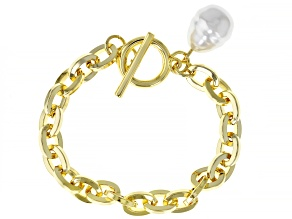 Gold Tone Pearl Simulant Paperclip Chain Toggle Bracelet