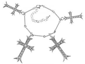 Silver Tone White Crystal 4 Charm Cross Bracelet