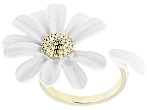 White Enamel Daisy Gold Tone Ring