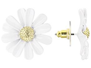 White  Enamel Daisy Gold Tone Earrings