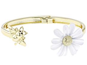 White Enamel Bee and Daisy Gold Tone Bracelet