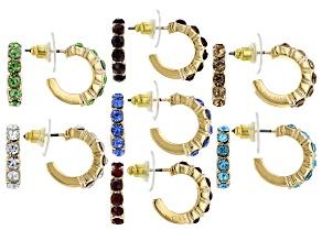 Gold Tone Multi Color Crystal Set of 7 Huggie Earrings