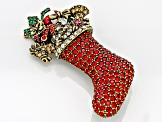 Multicolor Crystal Multicolor Enamel Antiqued Gold Tone Stocking Brooch