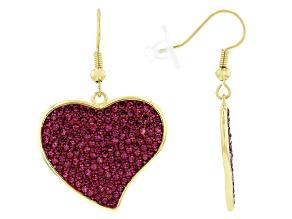 Pink Crystal Gold Tone  Heart Shaped Earrings