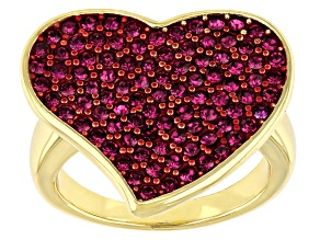 Pink Crystal Gold Tone Heart Shaped Ring