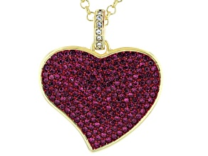 Pink Crystal Gold Tone Heart Shaped Necklace