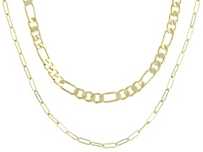 Gold Tone Chain Necklace Set of 2
