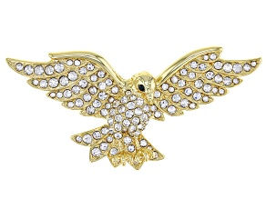 White Crystal,  Gold Tone Eagle Brooch/Pin