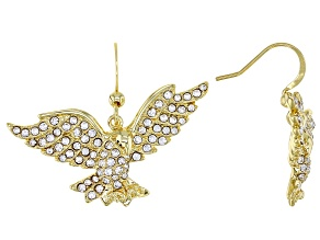 White Crystal Gold Tone Eagle Dangle Earrings