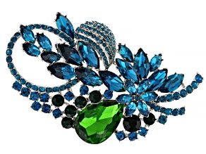 Blue and Green Crystal Silver Tone Peacock Brooch / Pin
