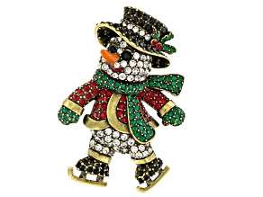 Multicolor Crystal Multicolor Enamel Antiqued Gold Tone Snowman Brooch