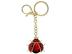 Red and Black Crystal Gold Tone Ladybug Keychain