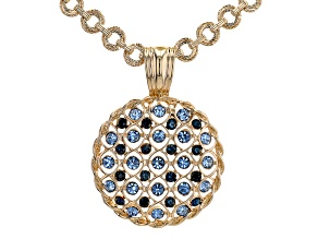 Montana Blue and Light Blue Sapphire Color Crystal, Gold Tone Pendant with Chain