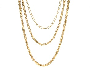 White Crystal Multi Row Interchangeable Gold Tone Necklace