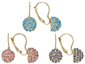 Multi Color Crystal, Gold Tone Earring Set Of 3