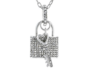 White Crystal Lock and Key  Silver Tone Necklace