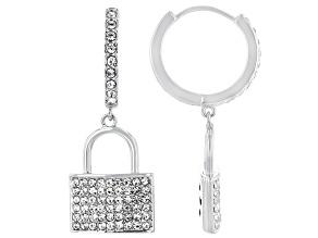 White Crystal Lock and Key Silver Tone Dangle Earring