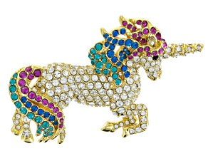Multicolor Crystal Gold Tone Unicorn Brooch