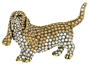 White And Champagne Crystal Antiqued Gold Tone Basset Hound Brooch