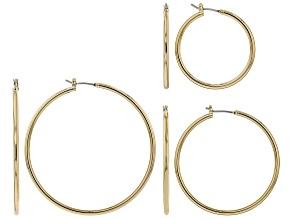 Gold Tone Set of 3 Hoop Earrings