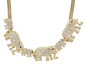 Multicolor Crystal Gold Tone Elephant Collar Necklace