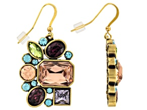 Multicolor Crystal Antiqued Gold Tone Dangle Earrings
