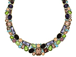 Off Park ® Collection Multicolor Crystal Antiqued Gold Tone Statement Necklace