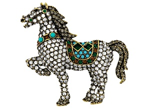 Multicolor Crystal Imitation Turquoise Antiqued Gold Tone Horse Brooch