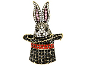 Multicolor Crystal Antiqued Gold Tone Bunny in A Top Hat Brooch