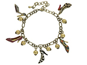 Multicolor Crystal Antiqued Gold Tone High Heel Charm Bracelet