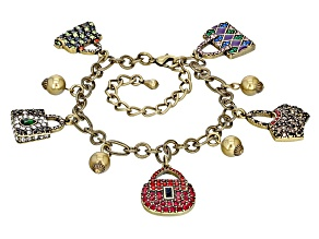 Multicolor Crystal Multicolor Enamel Antiqued Gold Tone Purse Charm Bracelet