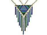 Multicolor Crystal Antiqued Gold Tone Dangling Necklace