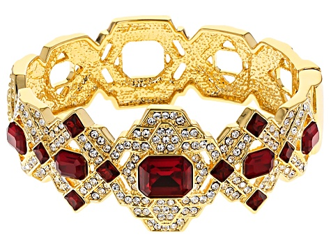 White And Red Crystal Gold Tone Deco Bracelet