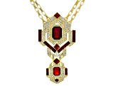 White Crystal Red Crystal Gold Tone Deco Necklace