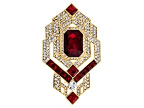 White And Red Crystal Gold Tone Deco Brooch