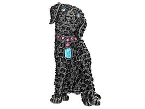 Multicolor Crystal Gunmetal Tone Labrador Retriever Brooch