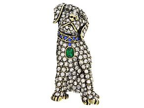 Multicolor Crystal Antiqued Gold Tone Labrador Retriever Brooch