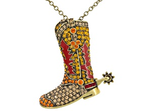 Multicolor Crystal Red Enamel Antiqued Gold Tone Cowboy Boot Pin/Pendant With Chain