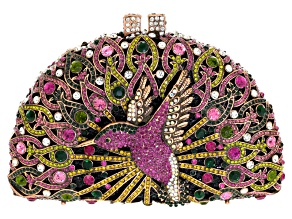 Multicolor Crystal Antiqued Gold Tone Hummingbird Clutch