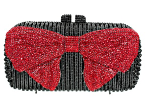 Black And Red Crystal Gunmetal Tone Bow Clutch