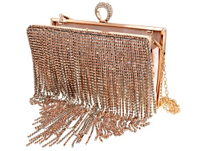 Pink And White Crystal Gold Tone Fringe Clutch
