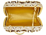 White Crystal Gold Tone Floral Clutch
