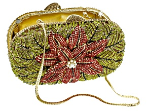 Multicolor Crystal Gold Tone Poinsettia Clutch