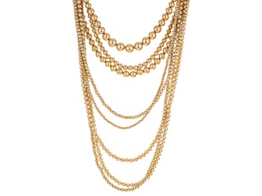 Golden Pearl Simulant Gold Tone Multi Layer Necklace