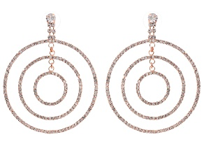 White Crystal Rose Tone Multi Circle Dangle Earrings