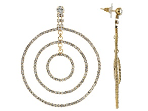 White Crystal Gold Tone Multi Circle Dangle Earrings