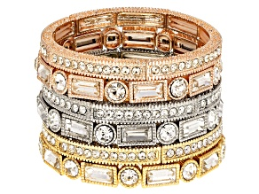 White Crystal Three-Tone Stretch Bracelet Set Of 6